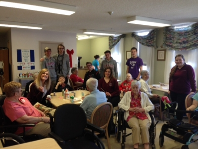 Grade 12 Leadership Class at St. Charles College helps brighten senior residence