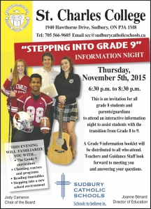 Stepping into Grade 9 Night at St. Charles College – Nov. 5