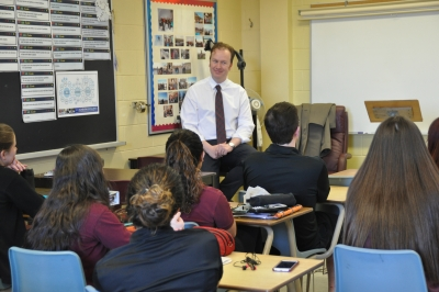SCC French Immersion Political Science class gets Q & A with MP Paul Lefebvre