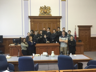 Students studying Law at the courthouse